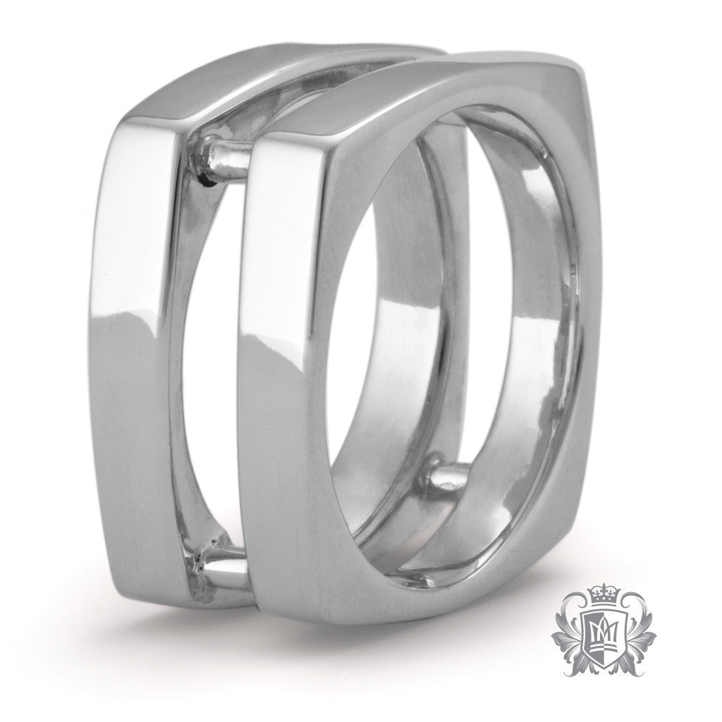 Large Wide Square Double Band - Size 10 Rings