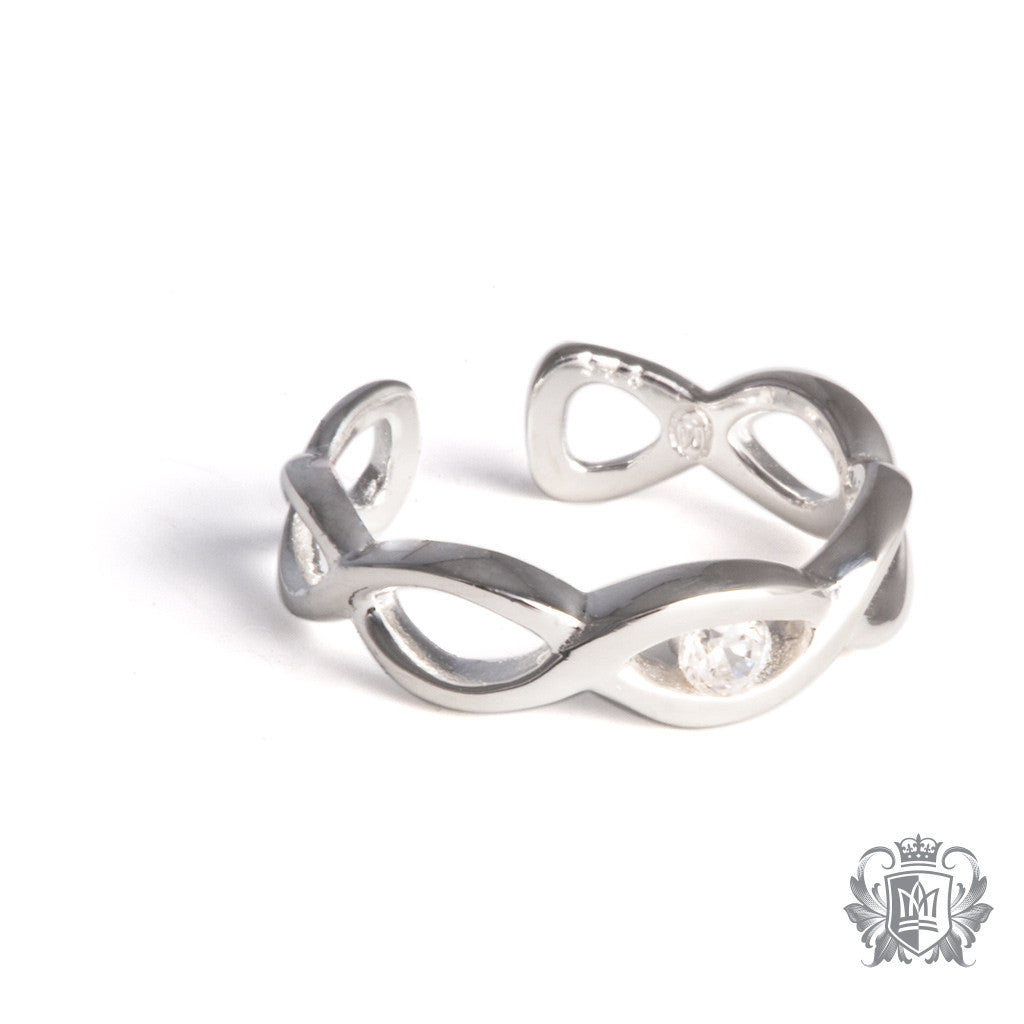 Metalsmiths Sterling Silver Cubic Cross-over Toe Ring