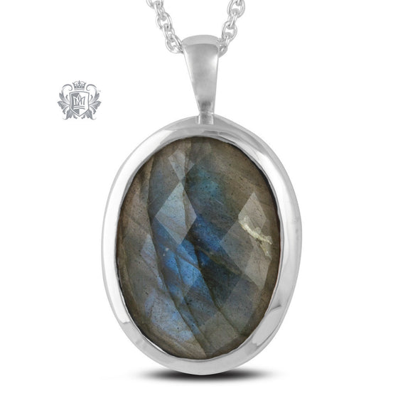 Oval Checker Cut Gemstone Pendant - Black Onyx, Labradorite - Labradorite / 18 inch chain Gemstone Pendants - 1