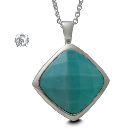 Checker Cut Offset Square Pendant - Turquoise - 18 inch chain Gemstone Pendants