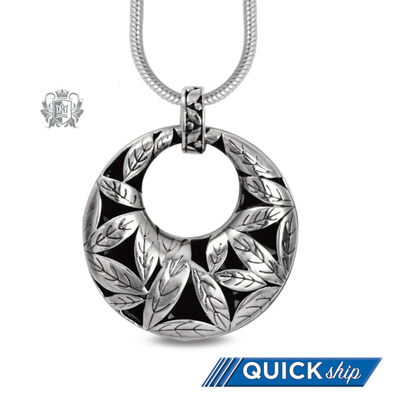 Large Leafy Round Pendant Sterling Silver Quick Ship