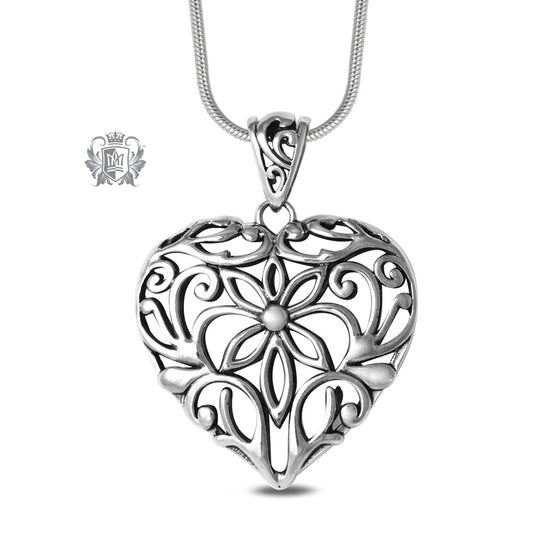 Large Dimensional Heart Pendant Sterling Silver