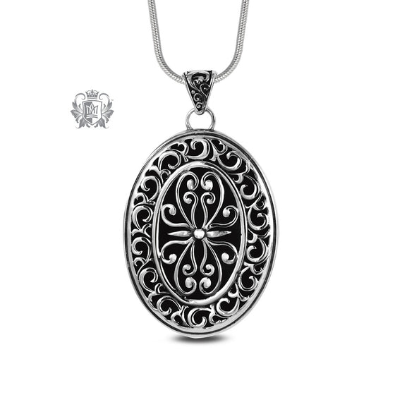 Large Oval Scroll Medallion Sterling Silver