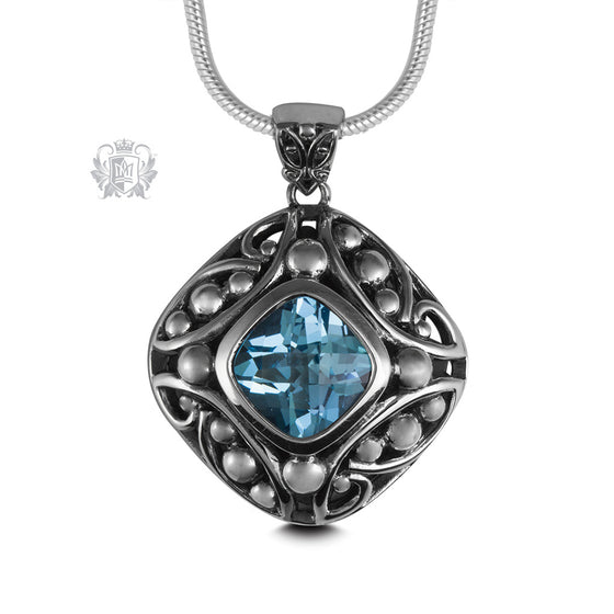 Blue Topaz Checker Cut Offset Pendant Sterling Silver