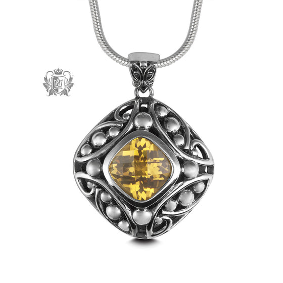 Citrine Checker Cut Offset Pendant Sterling Silver