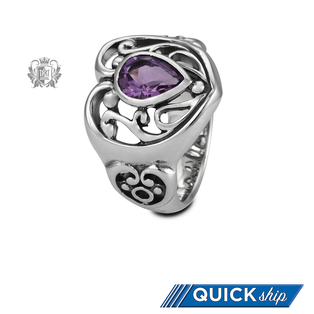 Quick Ship Amethyst Scroll Heart Ring Sterling Silver