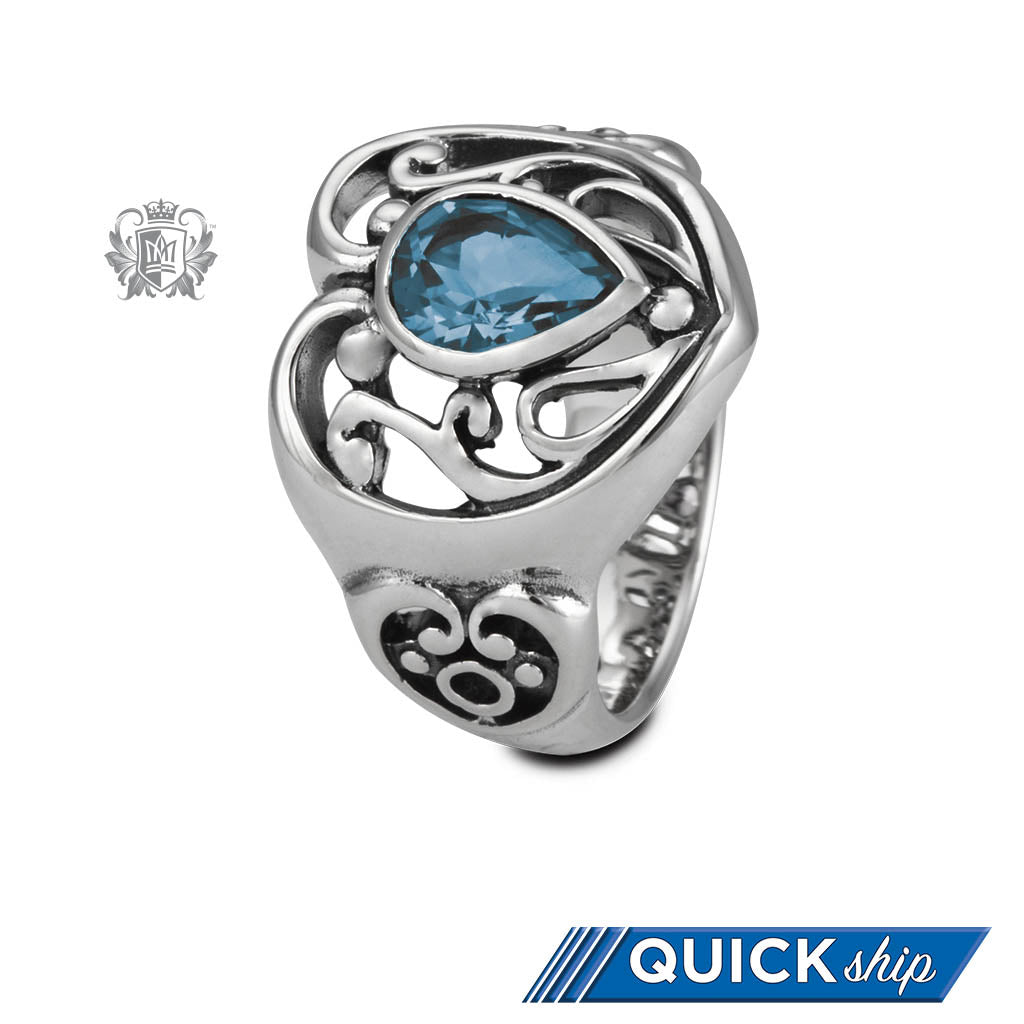 Quick Ship Blue Topaz Scroll Heart Ring Sterling Silver