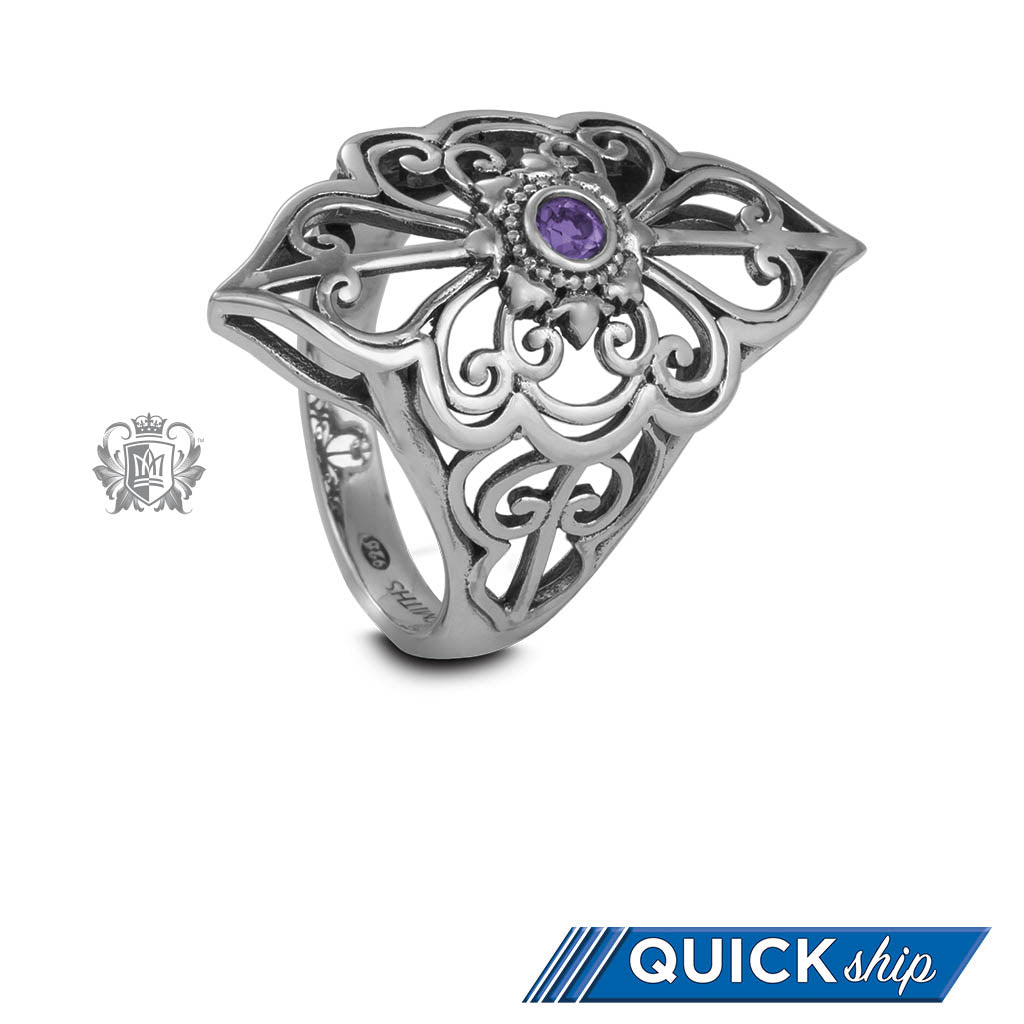 Quick Ship Amethyst Panos Konidas Scroll Ring