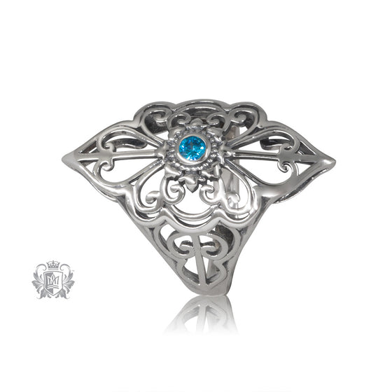 Quick Ship Blue Topaz Panos Konidas Scroll Ring