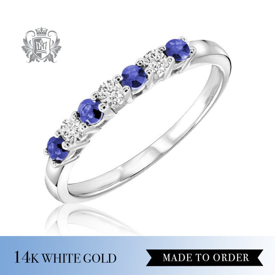 Blue Sapphire & Diamond Eternity Band Made to order