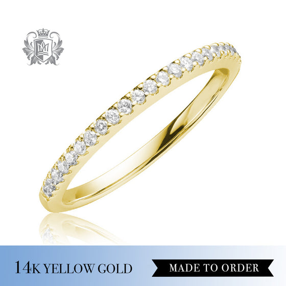 Round Prong Set Diamond Eternity Band 14k yellow gold made to order