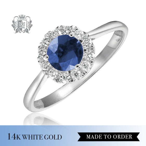Sapphire & Diamond Cocktail Ring 14K Made to order