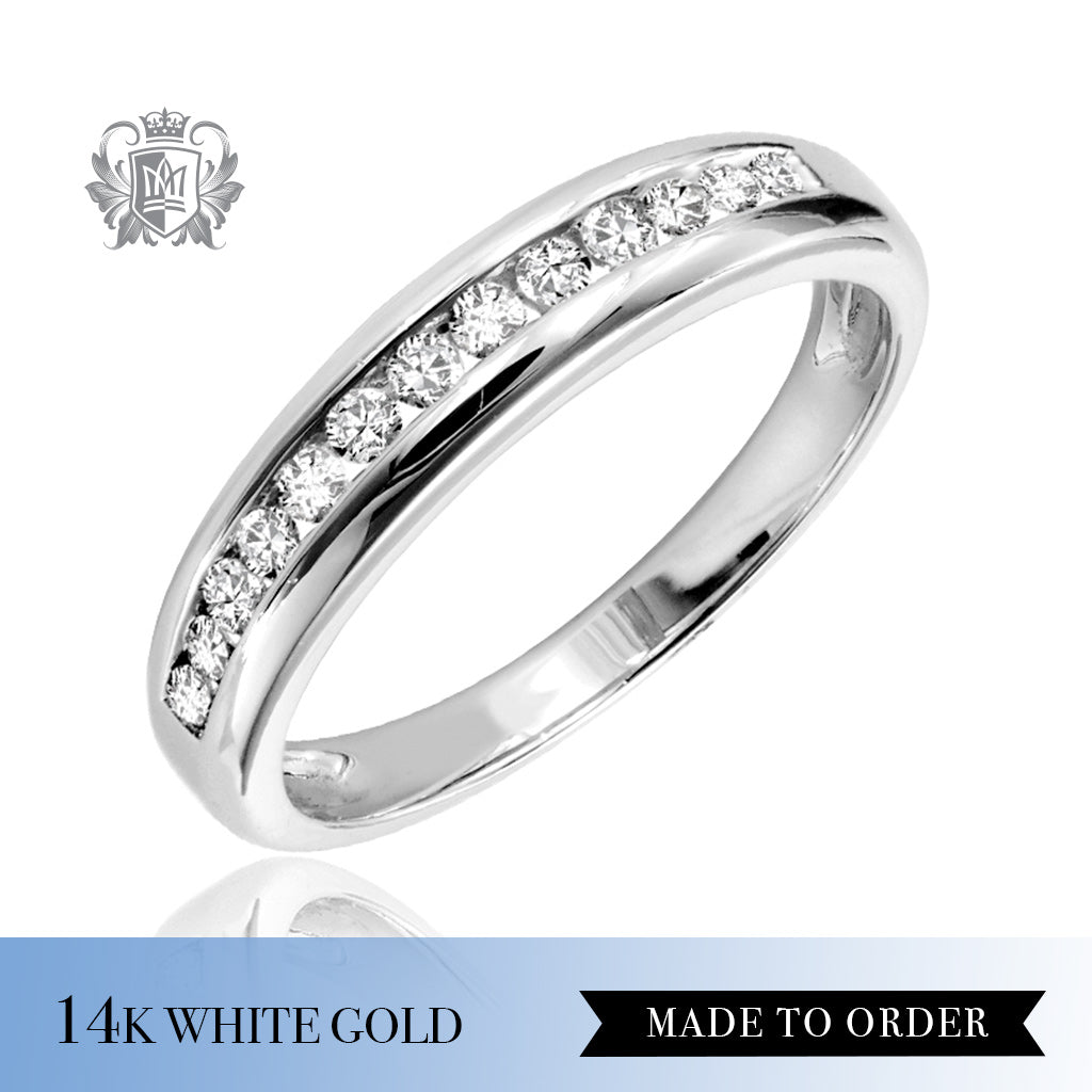 Channel Set Diamond Eternity Band 14k white gold made to order