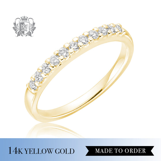 Squared Prong Diamond Eternity Band 14K yellow gold made to order