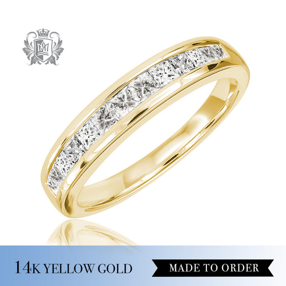 Square Channel Set Diamond Eternity Band 14K Yellow Gold made to order