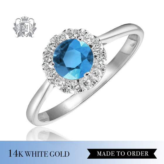 Blue Topaz & Diamond Cocktail Ring 14K Made to order