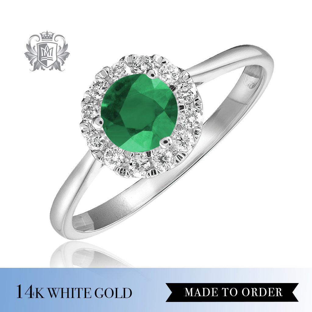 Emerald  & Diamond Cocktail Ring 14K Made to order
