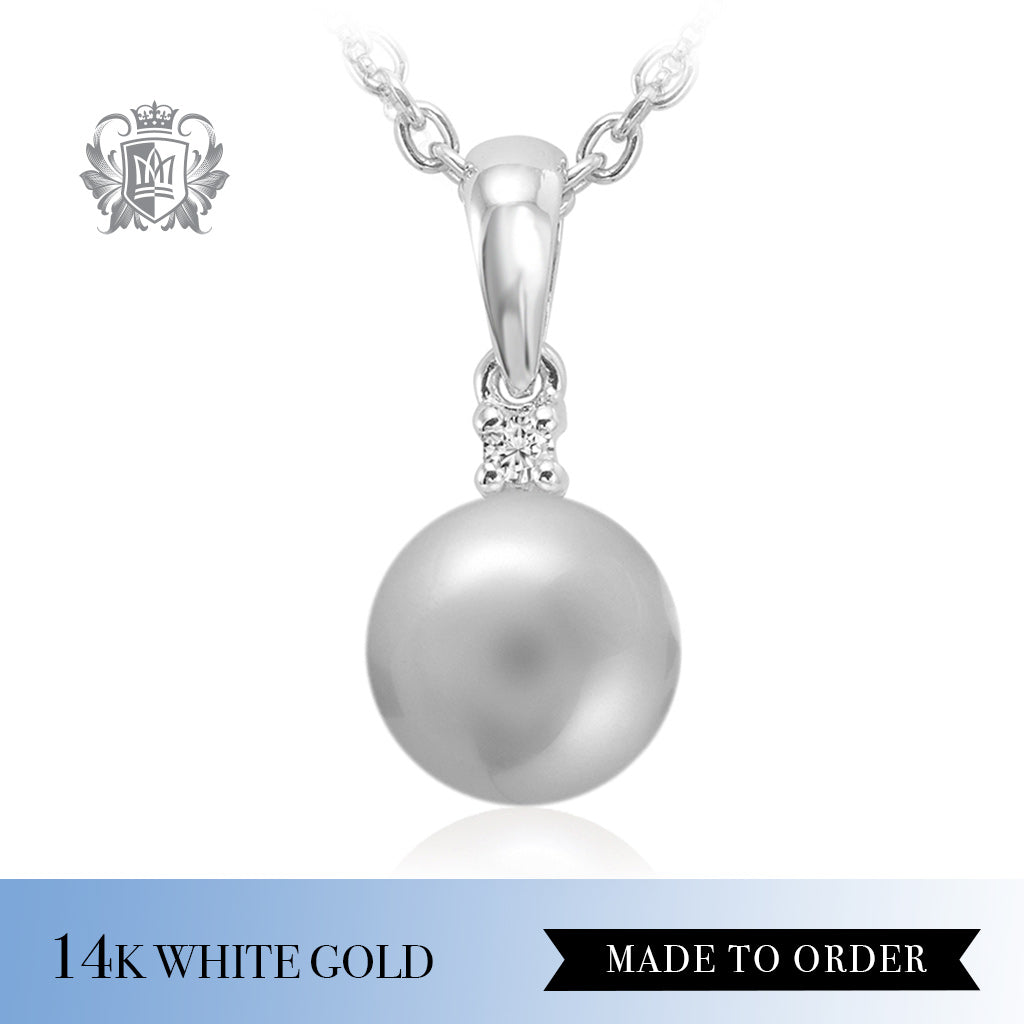 Diamond & Grey Pearl Pendant 14K white gold made to order