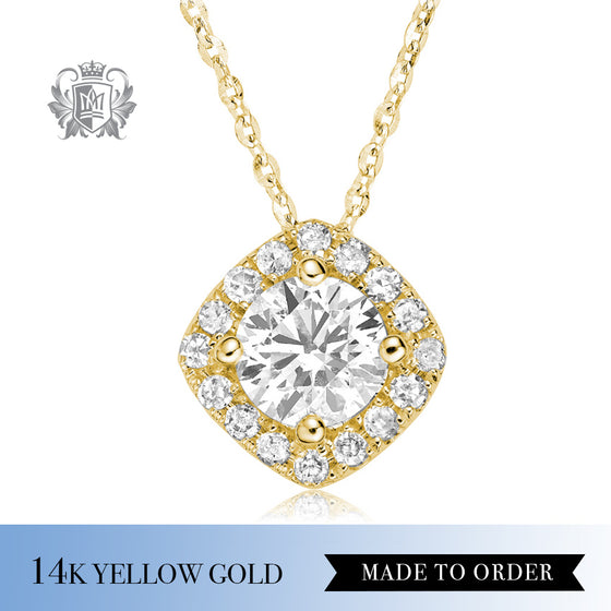 0.25 CT Diamond 14K Yellow Gold Halo Pendant Made to order