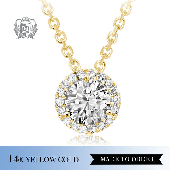 0.10 Ct Diamond Round Halo 14K Yellow Gold Pendant Made to order