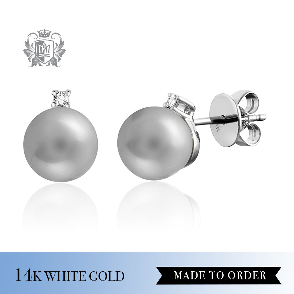 Diamond & Grey Pearl Stud Earrings 14K White Gold made to order