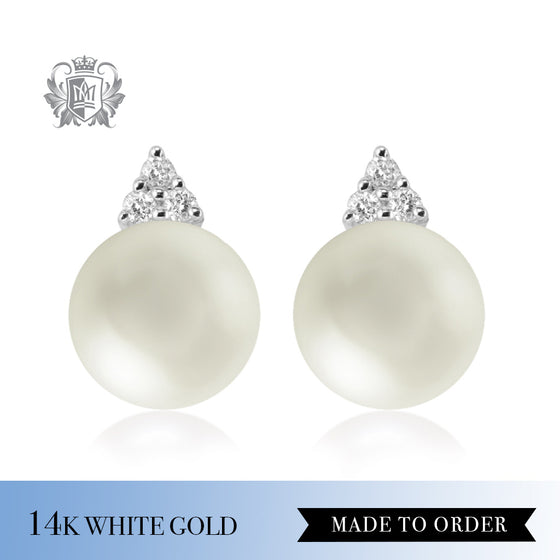 Diamond & White Pearl Stud Earrings