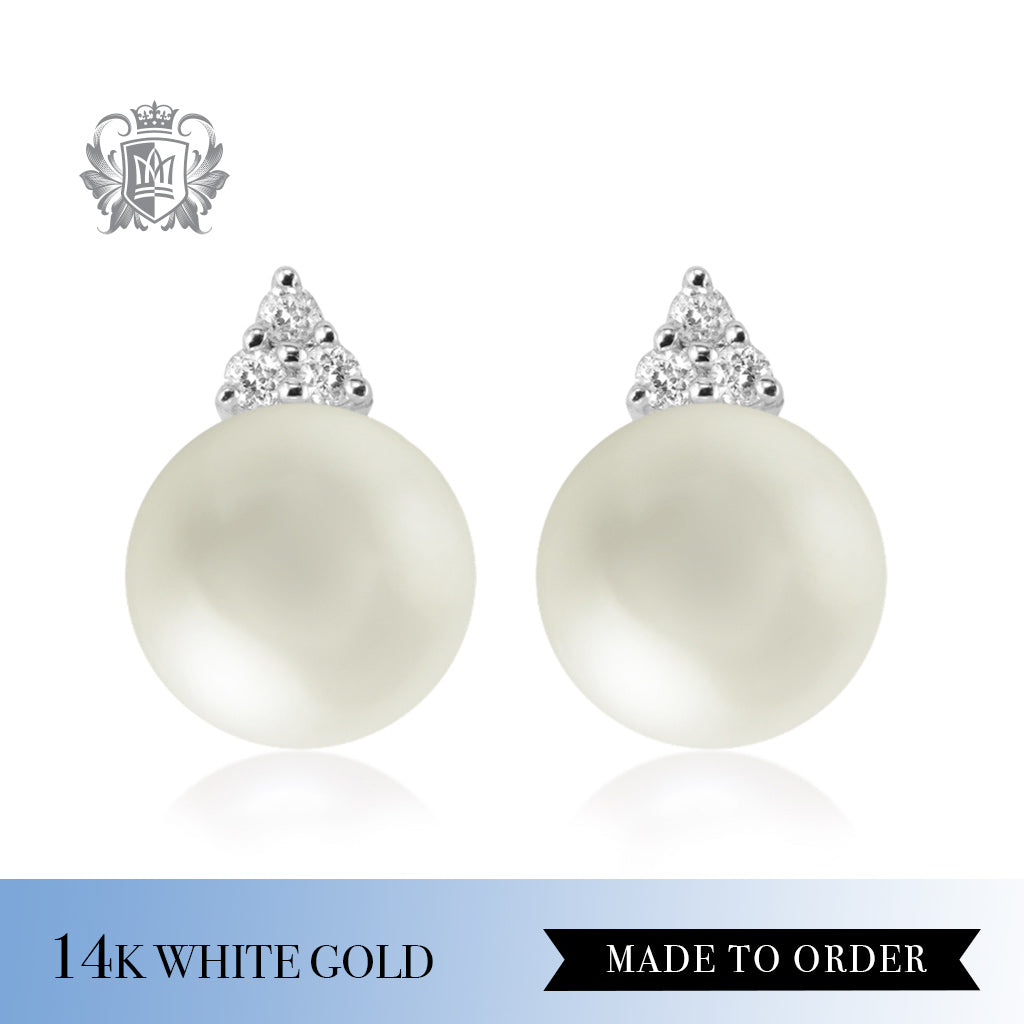Diamond & White Pearl 14K White Gold Stud Earrings Made to Order