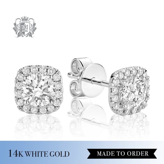 0.35 CT 14Kt White Gold Diamond Halo Earrings
