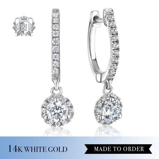 Round Diamond Halo Hanger Earrings 14K White gold made to Order