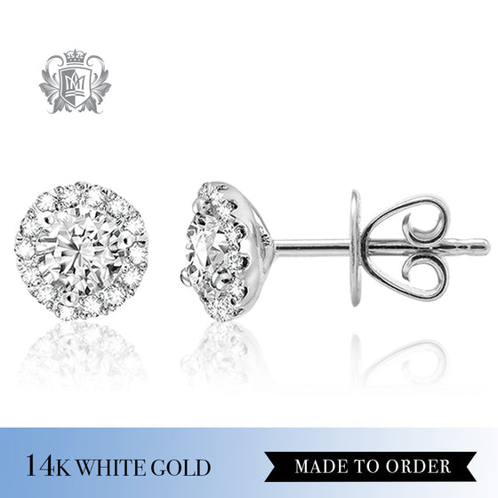 Round Diamond Halo Stud Earrings 14k white gold made to order