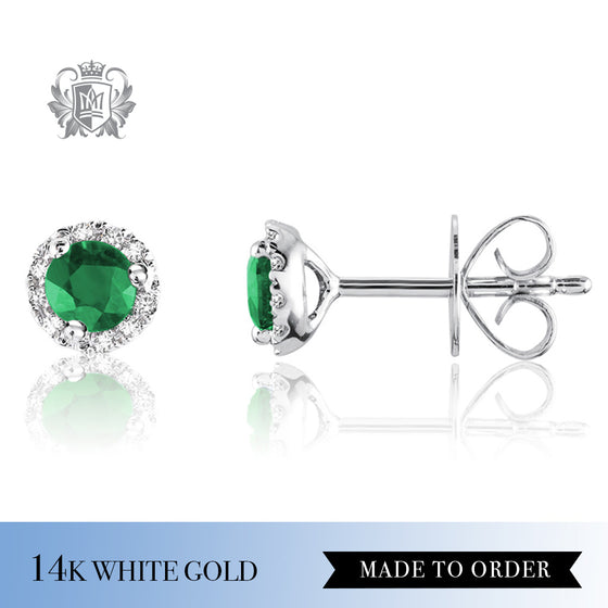 Emerald & Diamond Stud Earrings 14K Made to Order