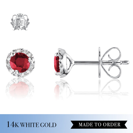 Ruby & Diamond Stud Earrings 14K Made to Order