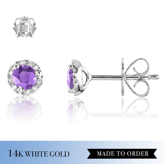 Amethyst & Diamond Stud Earrings 14K Made to Order