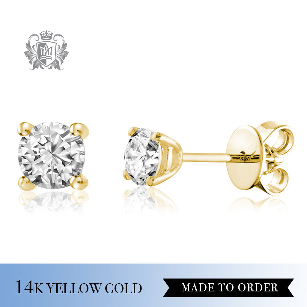 Diamond Solitaire Stud Earrings 14k Yellow gold made to order