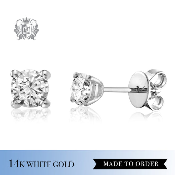 Diamond Solitaire Stud Earrings 14k white gold made to order