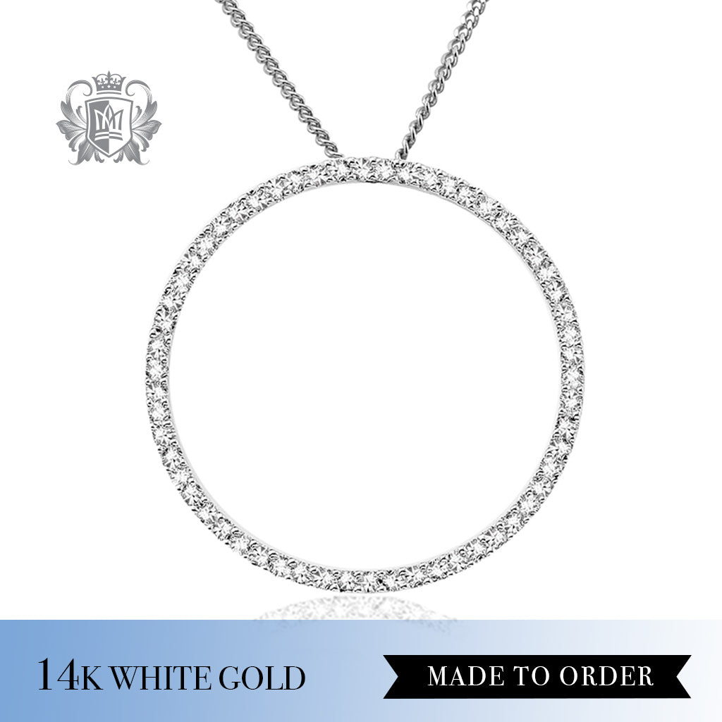 Diamond Forever Circle Pendant 14K white Gold made to order