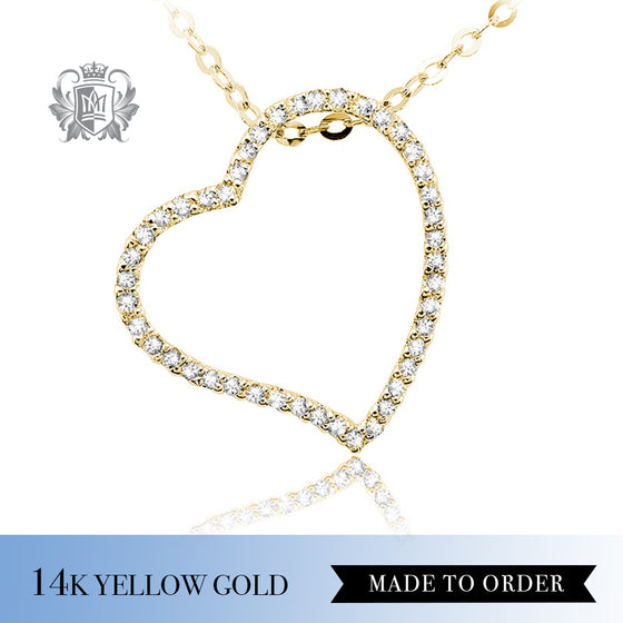 Diamond Open Heart Pendant 14k yellow gold made to order