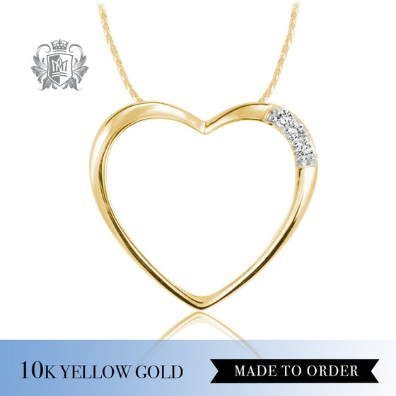 Diamond Classic Open Heart Pendant 10K Yellow Gold Made to Order