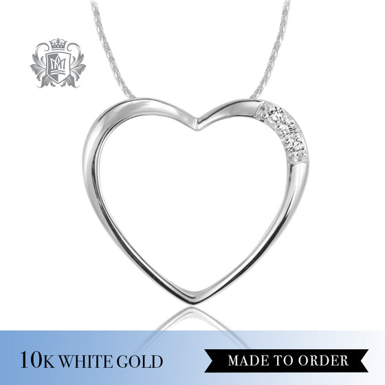 Diamond Classic Open Heart Pendant 10K Made to Order
