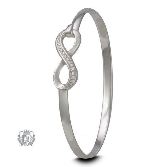 Cubic Eternity Sterling Silver Hook Bangle