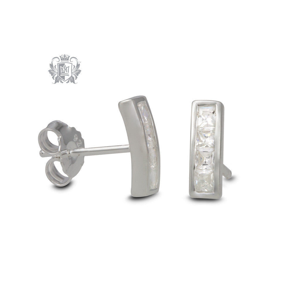 Sterling Silver Channel Set Bar Studs - side