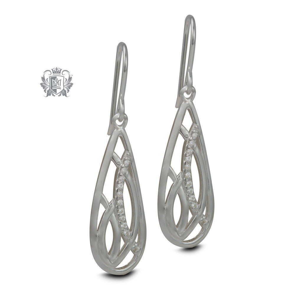 Sterling Silver Deco Teardrop Cubic Hanger Earrings
