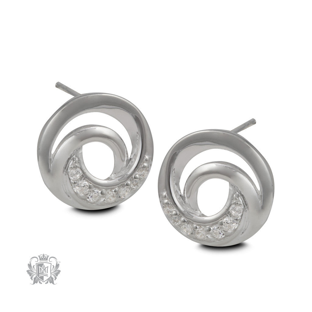 Sparkling Knot Sterling Silver Stud Earrings