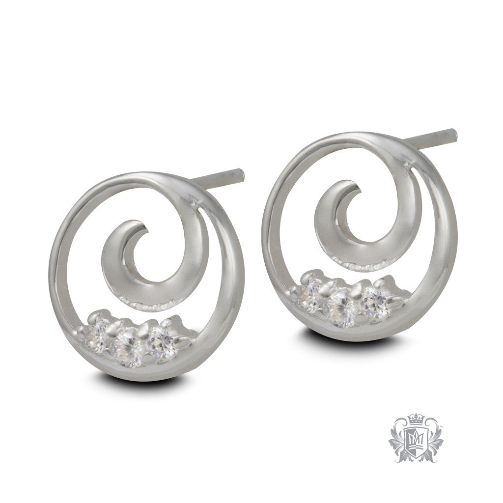 Chic Swirl Sterling Silver Stud Earrings