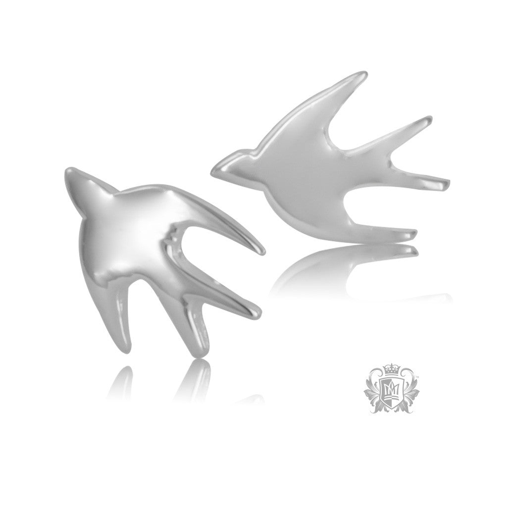 Sterling Silver Hummingbird Stud Earrings