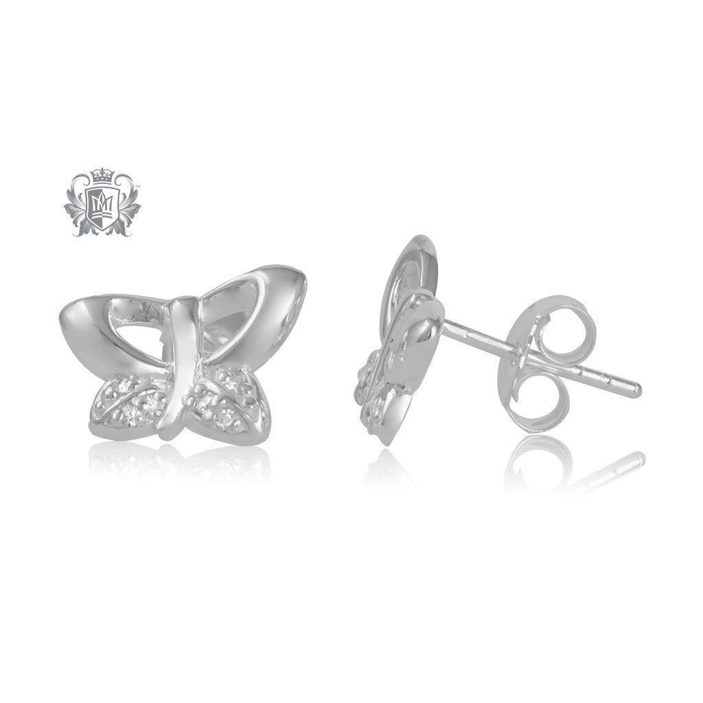 Metalsmiths Sterling Silver Butterfly Earrings - side
