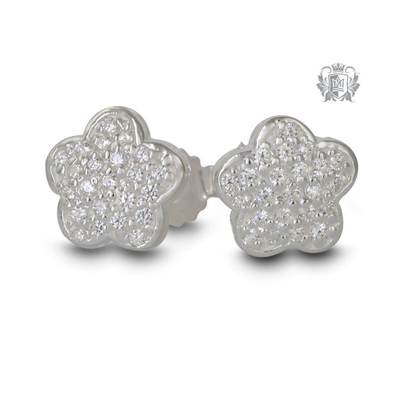 Pavé Flower Stud Earrings Sterling Silver