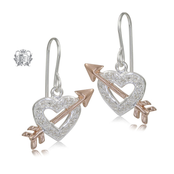 Rose Gold Dipped Heartbreaker Earrings Sterling Silver