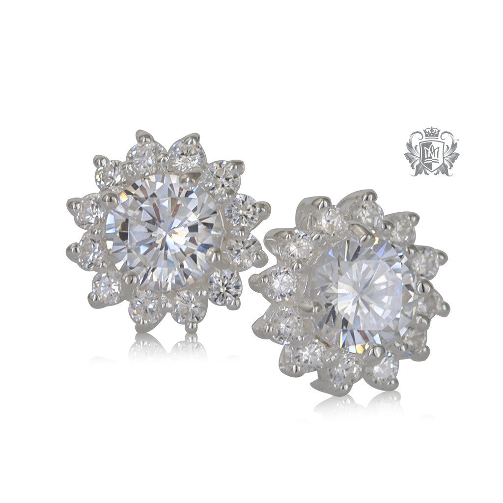 Round Classic Cubic Cluster Earrings
