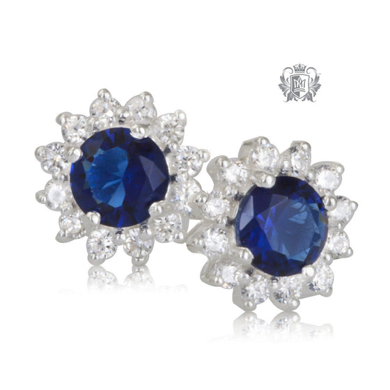 Round Sapphire Blue Cubic Cluster Earrings